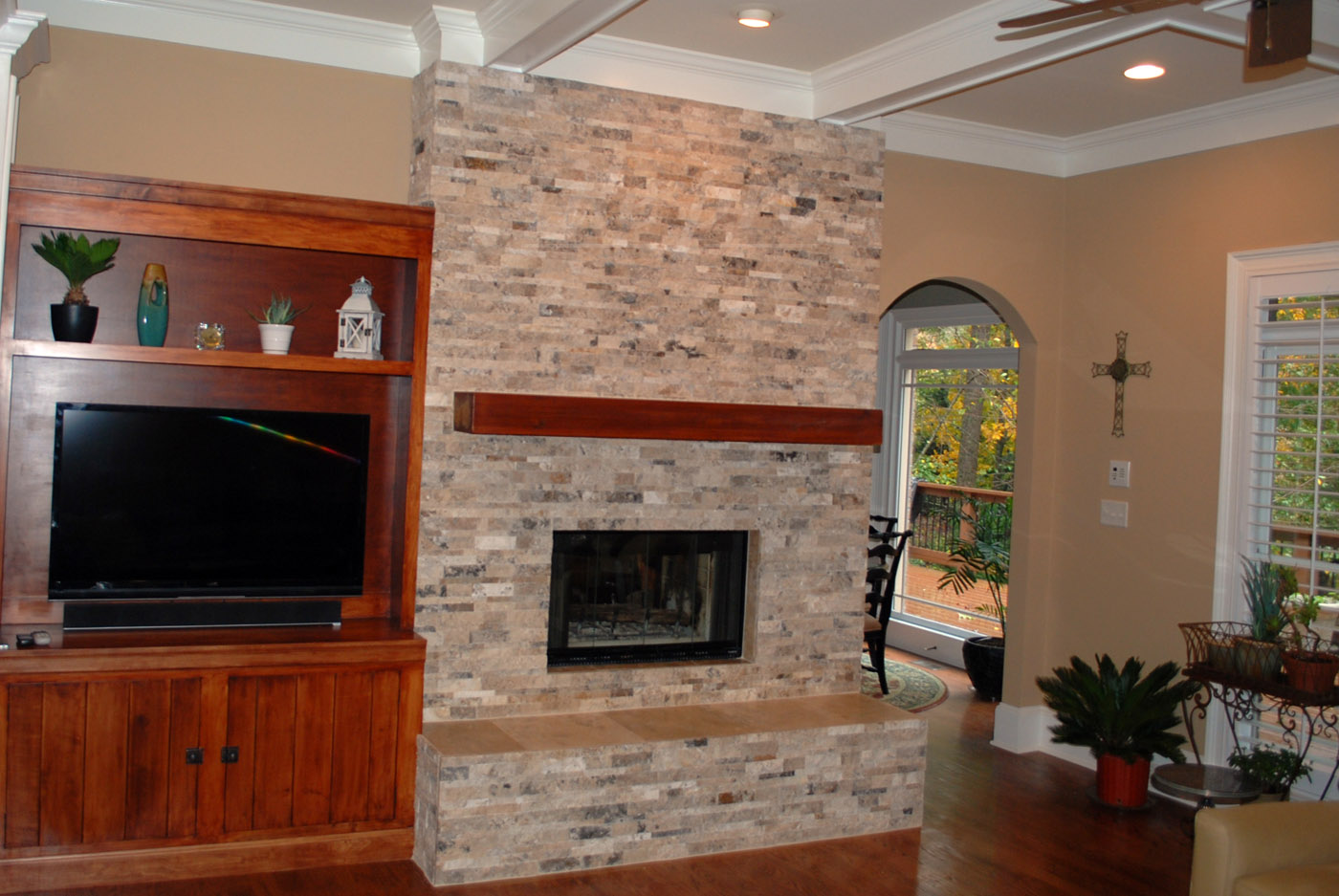fireplace stone over brick